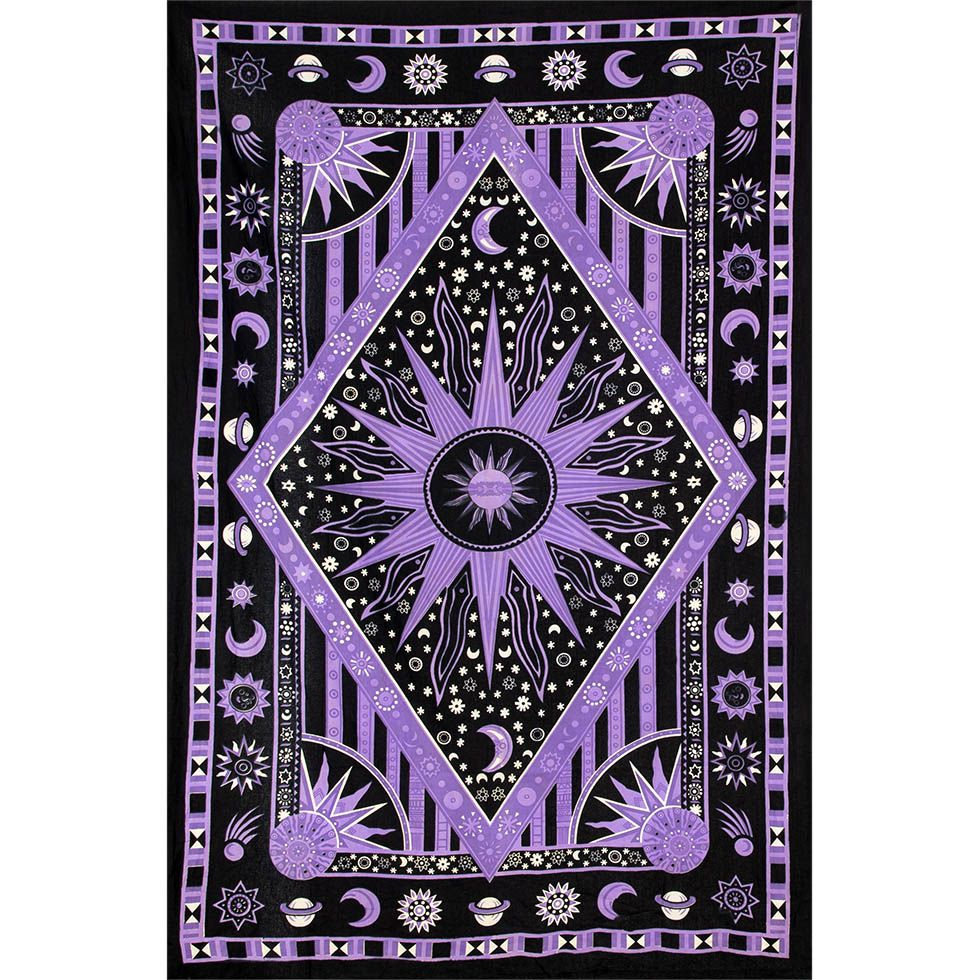 Bavlněný přehoz na postel Vesmír – fialový 1 India