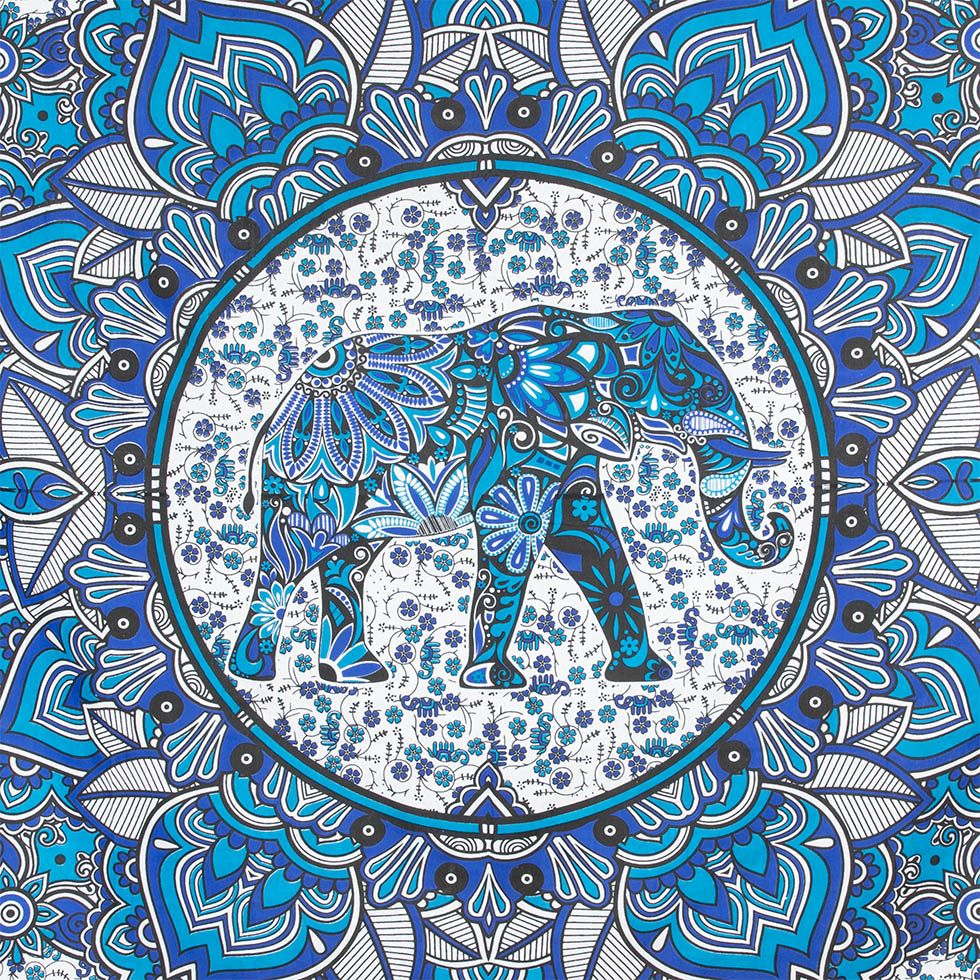 Bavlněný přehoz na postel Slon v mandale – modrý India