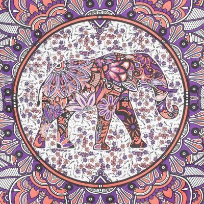 Bavlněný přehoz na postel Slon v mandale – růžovo-fialový India