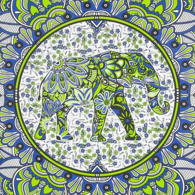 Bavlněný přehoz na postel Slon v mandale – zeleno-modrý India
