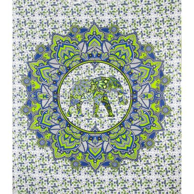 Přehoz Slon v mandale – zeleno-modrý