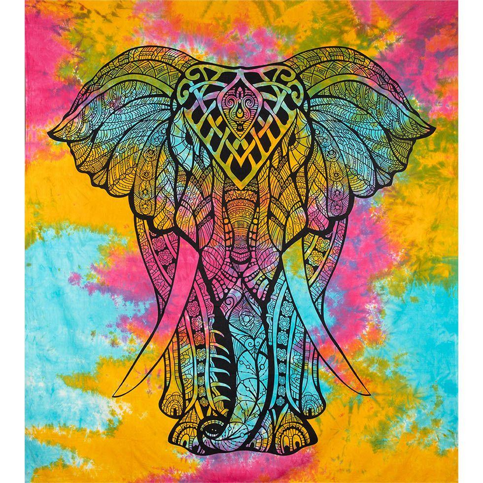 Bavlněný přehoz na postel Velký slon – pestrobarevný India