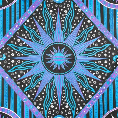 Bavlněný přehoz na postel Vesmír – fialovo-modrý India