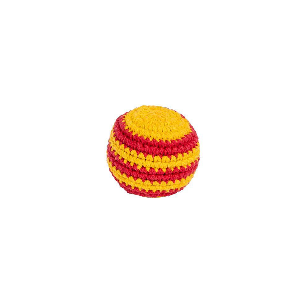 Háčkovaný míček hakisák – Červeno-žlutý Nepal