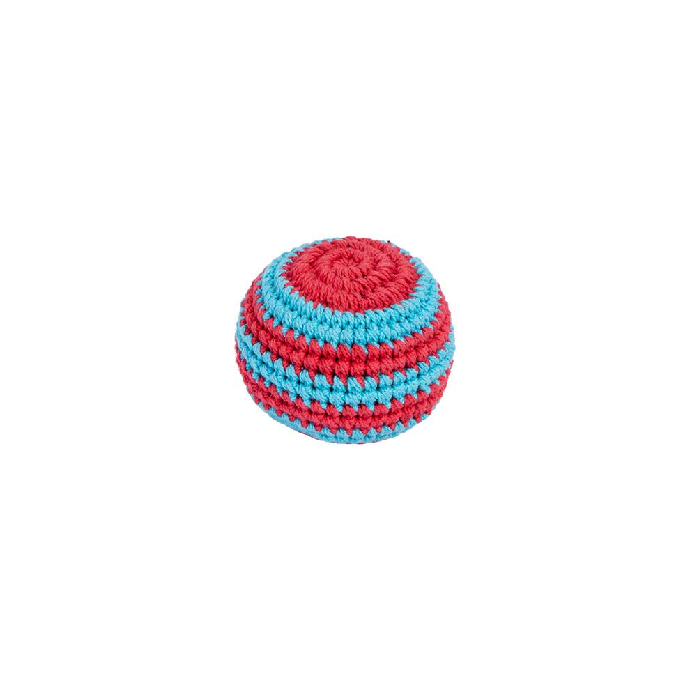 Háčkovaný míček hakisák – Modro-červený Nepal