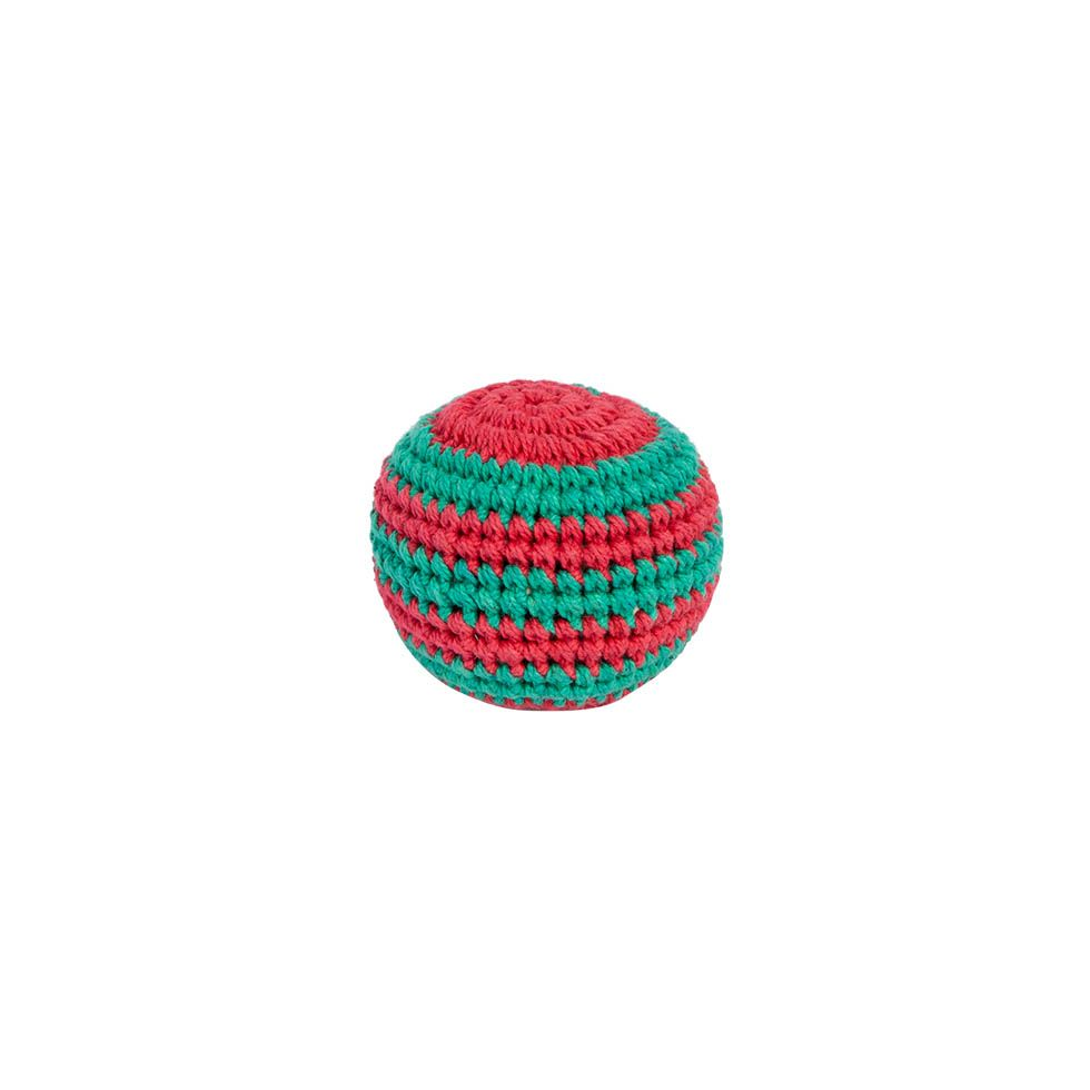 Háčkovaný míček hakisák – Zeleno-červený Nepal