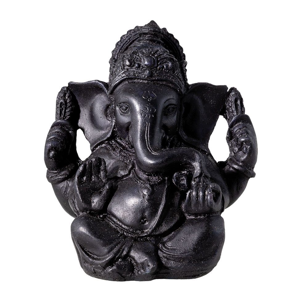 Zdobená soška z pryskyřice Černý Ganéša India