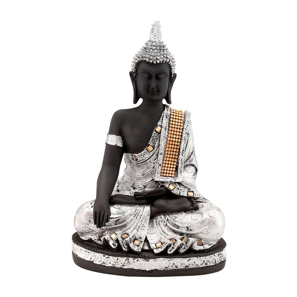 Zdobená soška z pryskyřice Stříbrný Buddha India