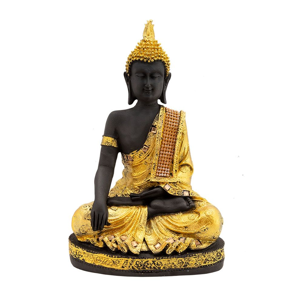 Zdobená soška z pryskyřice Zlatý Buddha India