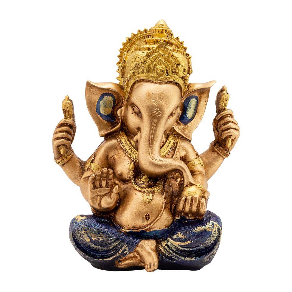 Zdobená soška z pryskyřice Zlatý Ganéša India