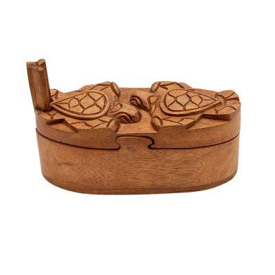 Dřevěná krabička na šperky Dvě želvy Indonesia