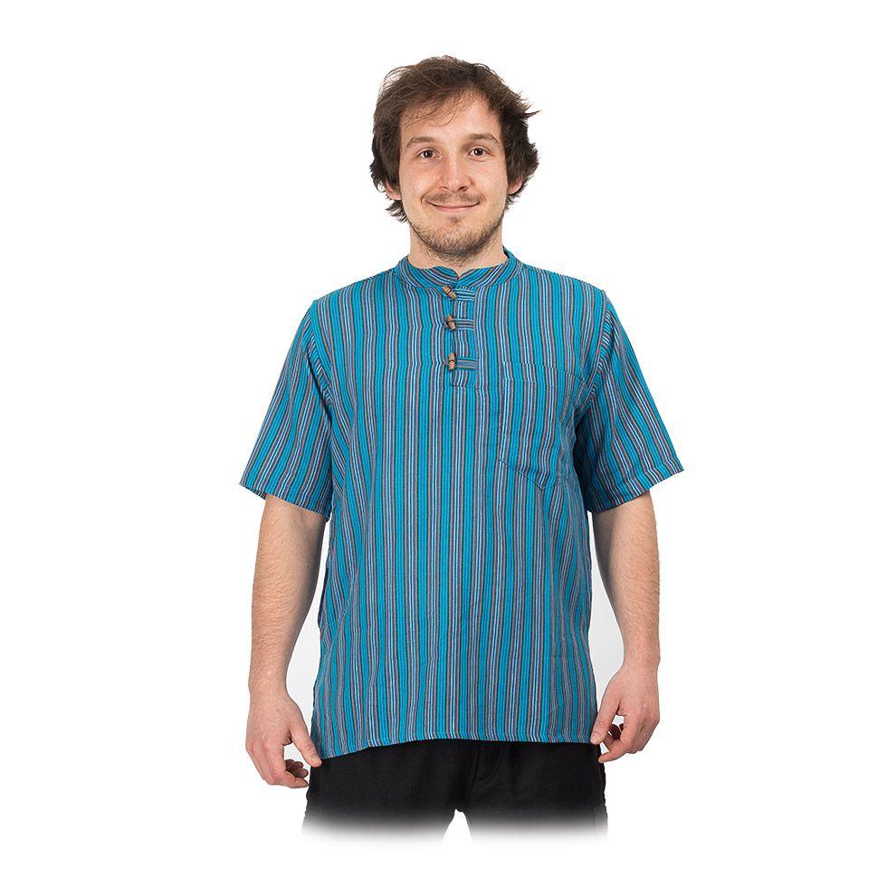 Kurta Pendek Pirus - pánská košile s krátkým rukávem Nepal