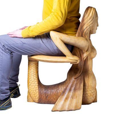 Ručně vyřezávaná dřevěná židle Mořská panna Indonesia