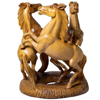 Ručně vyřezávaný dřevěný stolek Tři koně Indonesia