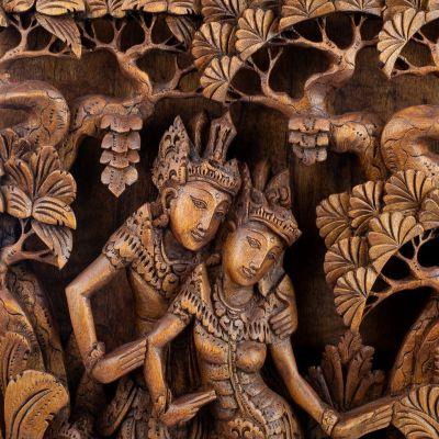 Vyřezávaná dřevěná plastika Ráma, Síta a zlatý srnec Maricha Indonesia