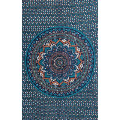 Bavlněný přehoz na postel Lotosová mandala – modrý