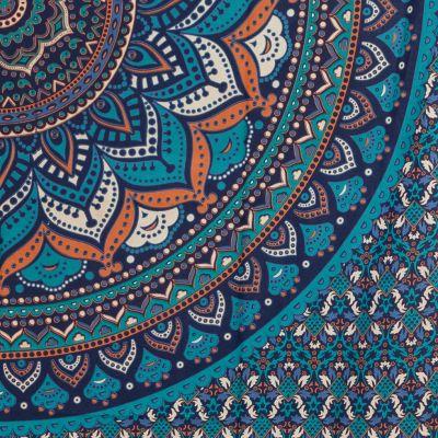 Bavlněný přehoz na postel Lotosová mandala – modrý India