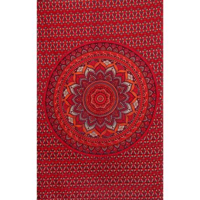 Bavlněný přehoz na postel Lotosová mandala – červeno-fialový