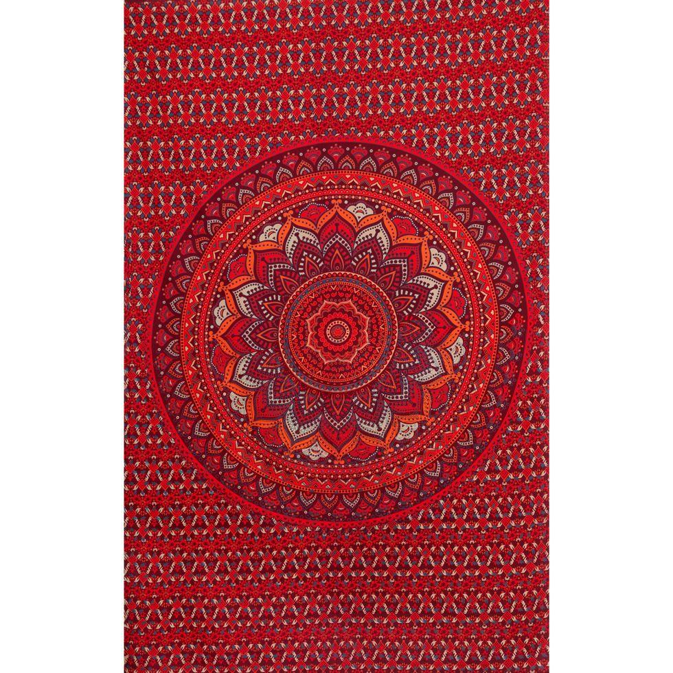 Bavlněný přehoz na postel Lotosová mandala – červeno-fialový India