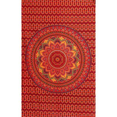 Bavlněný přehoz na postel Lotosová mandala – ohnivý India