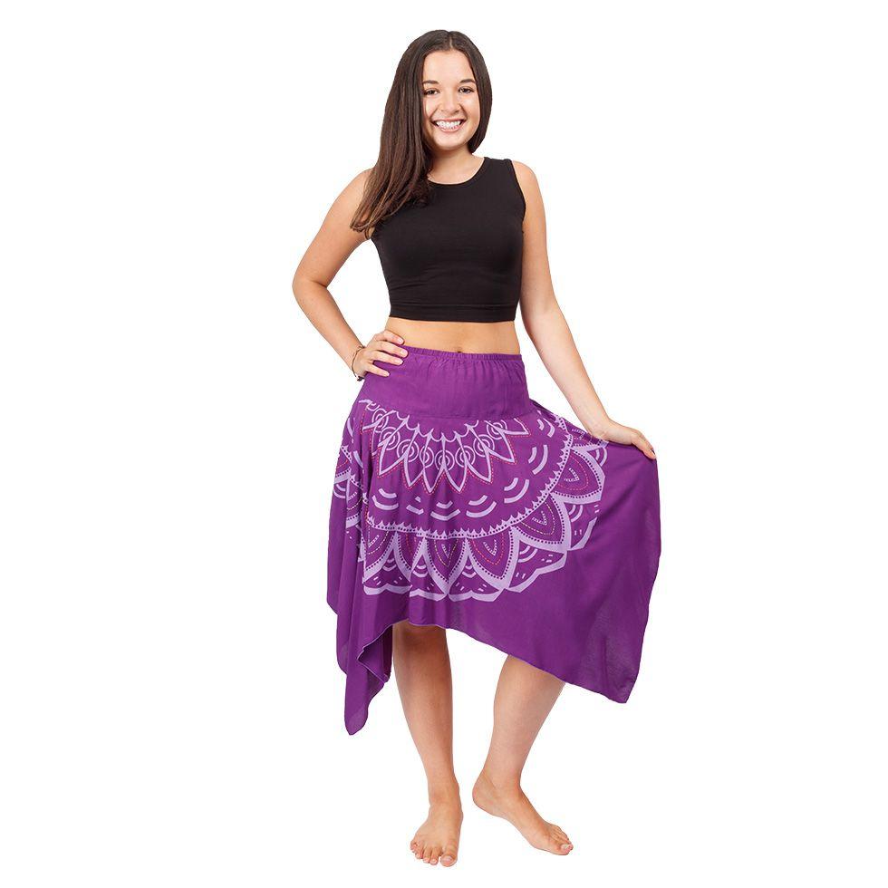 Cípatá sukně s elastickým pasem Tasnim Purple Nepal