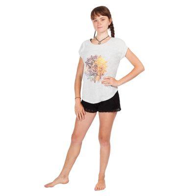 Dámské tričko s krátkým rukávem Darika Mandala Greyish | UNI