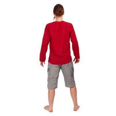 Kurta Abiral Burgundy - pánská košile s dlouhým rukávem Thailand