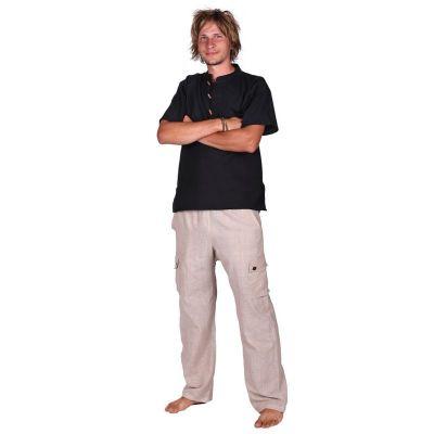 Kurta Pendek Hitam - pánská košile s krátkým rukávem Nepal