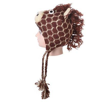 Vlněná čepice Žirafa - hnědá