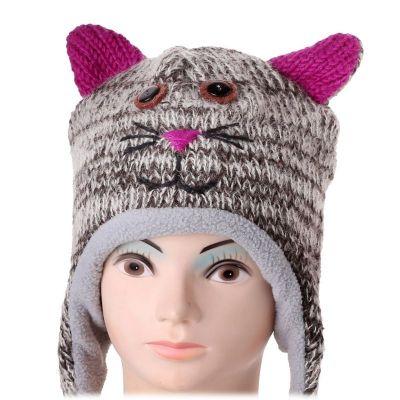 Vlněná čepice Kočka - mourovatá