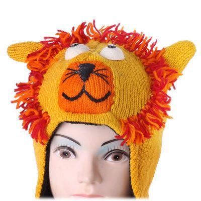Vlněná čepice Lev - žlutá