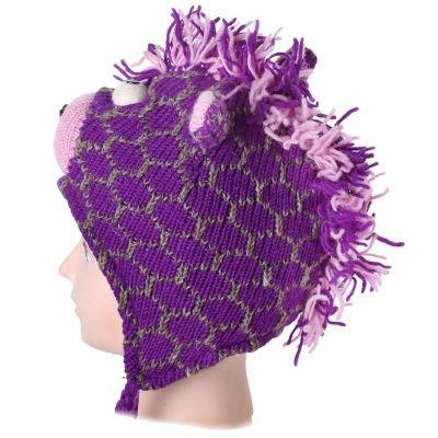 Vlněná čepice Žirafa - fialová