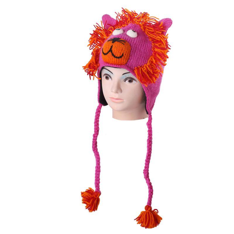 Vlněná čepice Lev - růžová