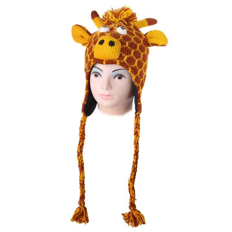 Vlněná čepice Žirafa - oranžová