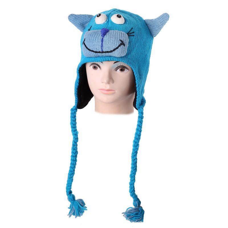 Vlněná čepice Kočka - tyrkysová