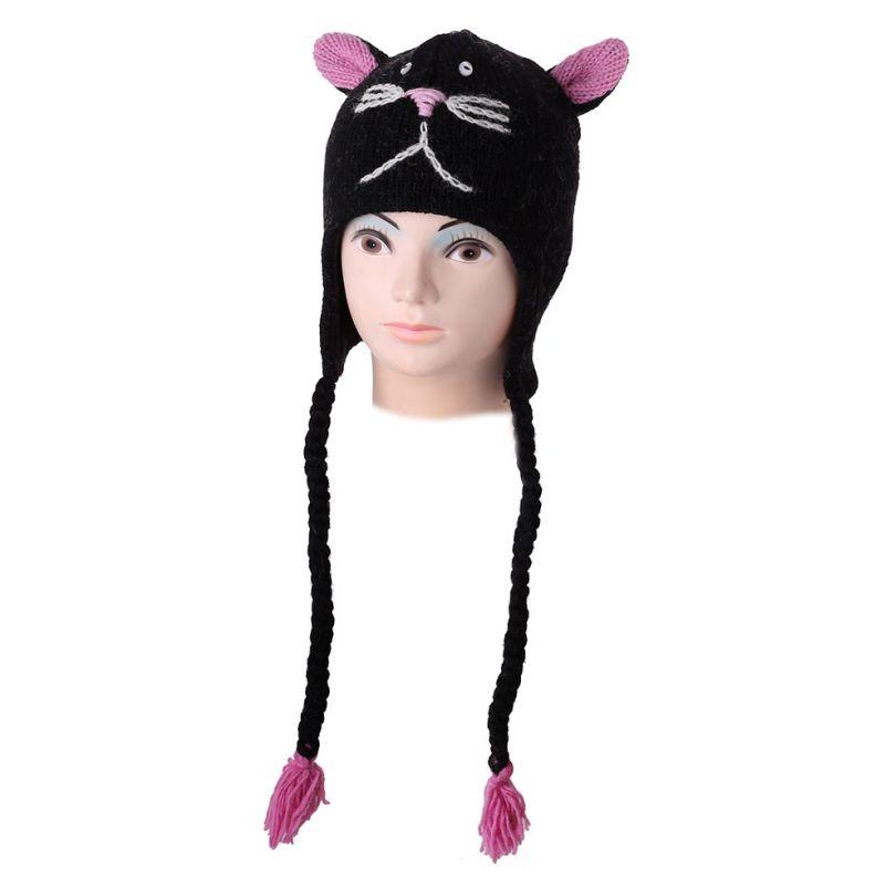 Vlněná čepice Kočka - černá