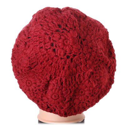 Háčkovaný baret Laras Red