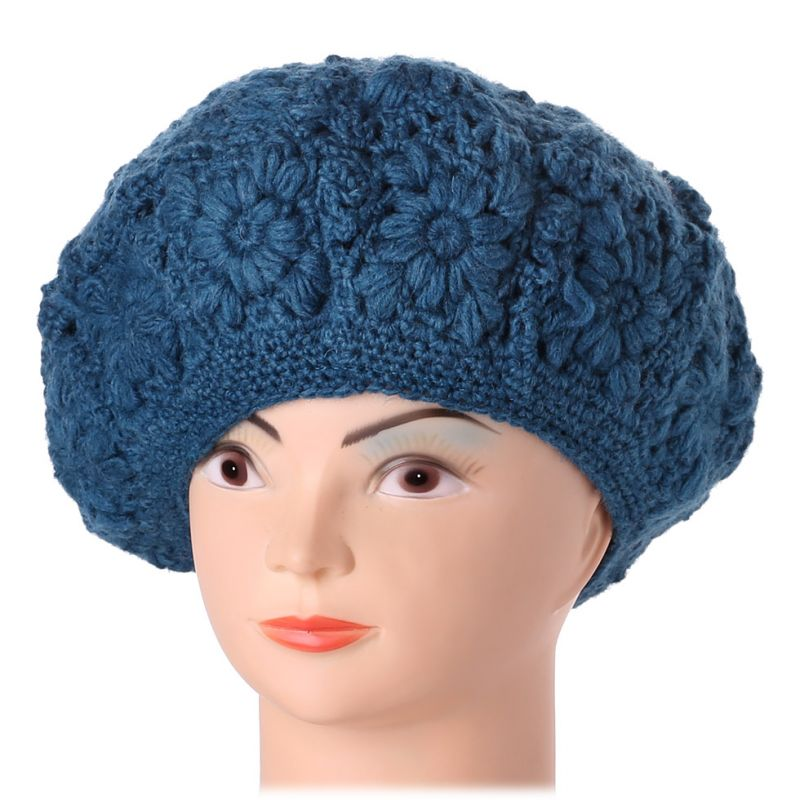 Háčkovaný baret Laras Blue