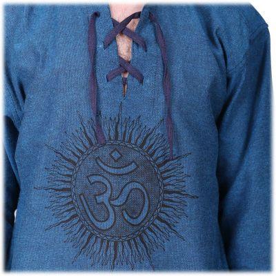 Kurta Matahari Pirus - pánská košile s dlouhým rukávem Nepal