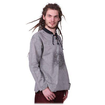 Kurta Matahari Kelabu - pánská košile s dlouhým rukávem Nepal