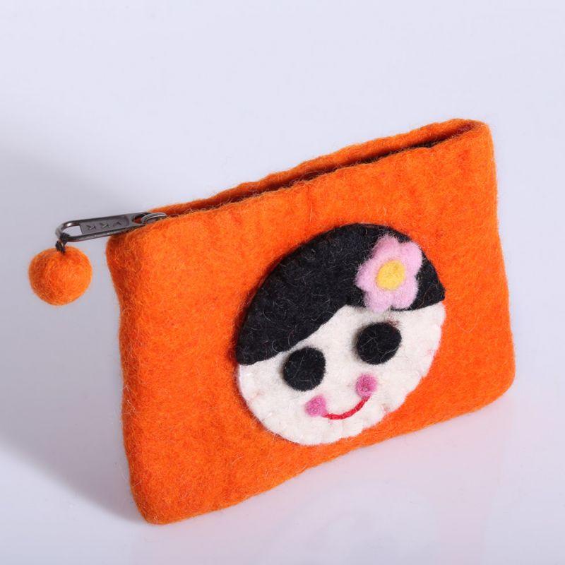 Plstěná taštička s holčičkou oranžová
