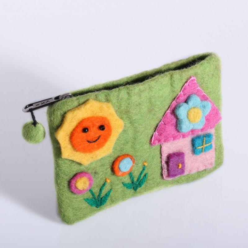 Plstěná taštička s domkem zelená