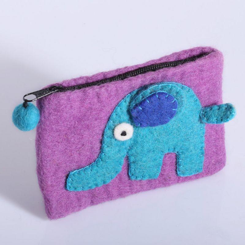 Plstěná taštička se slonem