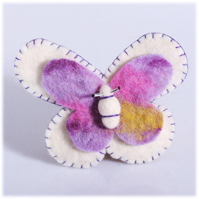 Plstěná brož Motýl Bílý