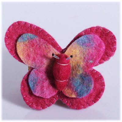 Plstěná brož Motýl Růžový