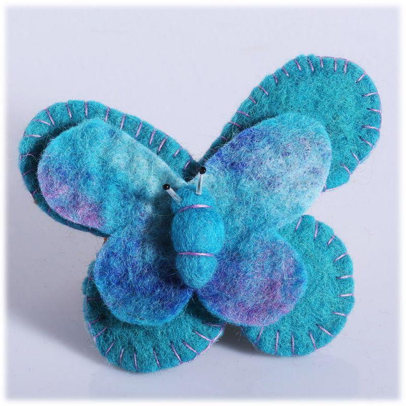 Plstěná brož Motýl Tyrkysový