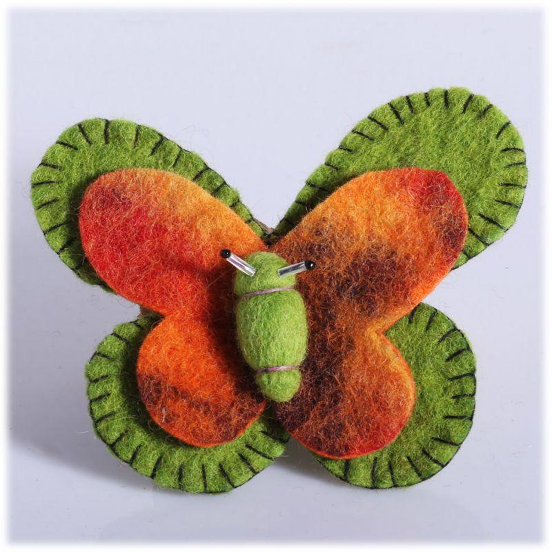 Plstěná brož Motýl Zeleno-oranžový