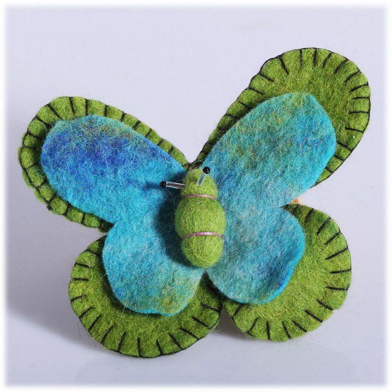 Plstěná brož Motýl Zeleno-tyrkysový