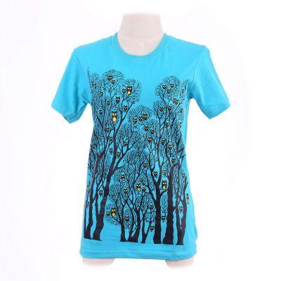 Tričko Owl Forest Turquoise