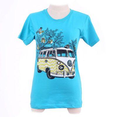 Tričko Hippies Bus Turquoise